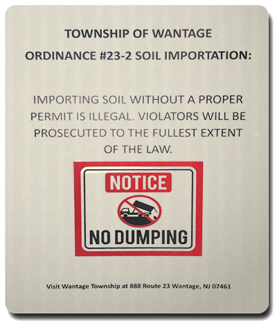 No dumping in Wantage sign