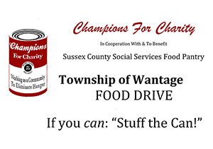 Wantage food drive. Drop off donations at the municipal building.